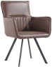 Carver Dining Chair With Metal Legs- Brown