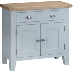 Pippa Painted Small Sideboard With Lime Washed Oak Top- Grey
