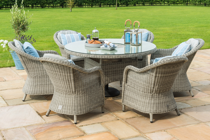 Cambridge 6 Seat Round Dining Set With Ice Bucket And Lazy Susan