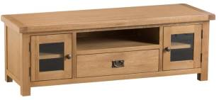 Belle Oak Large TV Unit With Glazed Doors