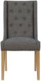 Button Back Studded Chair- Dark Grey