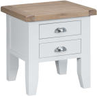 Pippa Painted Lamp Table With Lime- Washed Oak Top- White