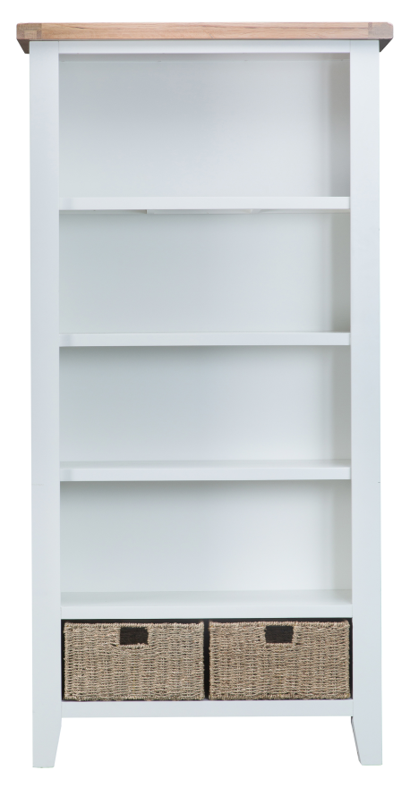 Pippa Grey/ White Painted Large Bookcase With Lime- Washed Oak Top