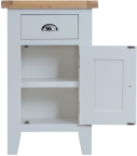 Pippa Grey/ White Painted Small Cupboard With Lime- Washed Oak Top