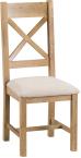Belle Oak Cross Back Chair Fabric Seat