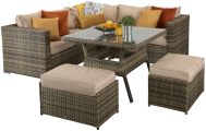 Manhattan Compact Corner Dining Set With High Table- Brown