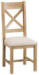 Belle Oak Cross Back Chair Fabric Seat