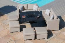 Fuzion Cube Sofa Set With Firepit Table- Taupe