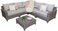 Hampton 6 Piece Modular Corner Sofa With Coffee Table/ Footstool- Grey