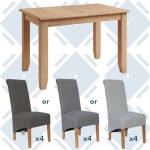 Rosie Oak 1.2 Extending Table With x4 Scroll Back Fabric Chairs