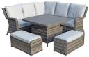 Miami Corner Dining Set With Rising Polywood Top Table- Grey