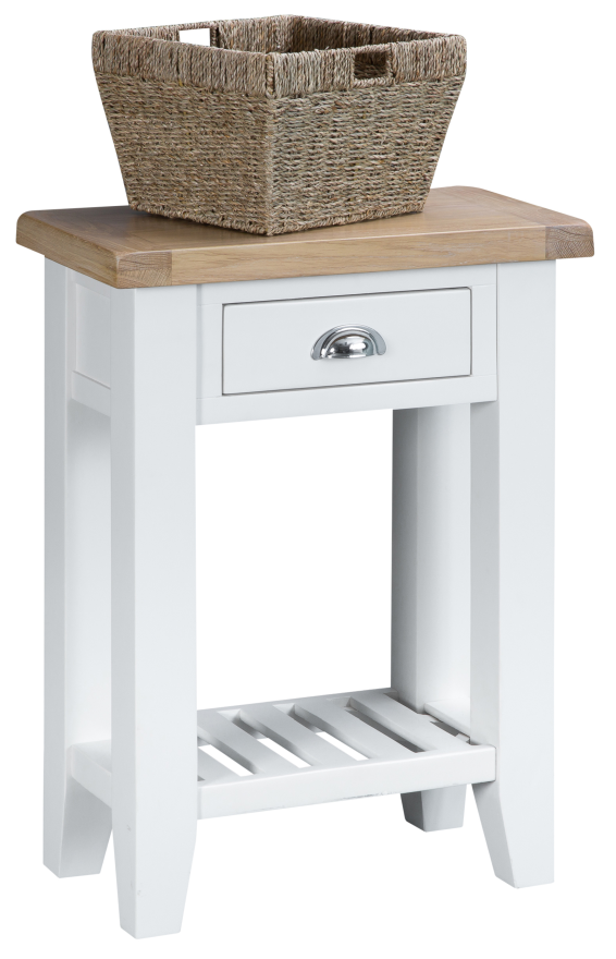 Pippa Grey/ White Painted Telephone Table And Basket With Lime- Washed Oak Top