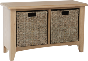 Rosie Oak Hall Bench With Wicker Storage