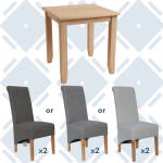 Rosie Oak Fixed Top Table With x2 Scroll Back Fabric Chairs