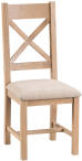 Oak Cross Back Chair Fabric Seat