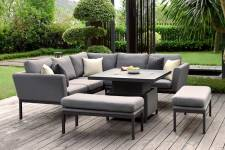 Pulse Square Corner Dining Set With Rising Table- Flanelle