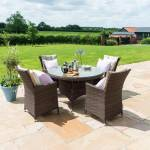 L.A. 4 Seat Round Dining Set- Grey/ Brown