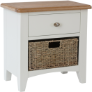Rosie Painted Oak 1 Drawer Unit With 1 Wicker Basket- White