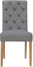 Scroll Button Back Fabric Chair- Light Grey
