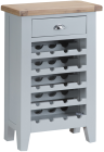 Pippa Painted Wine Cabinet With Lime- Washed Oak Top- Grey