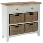 Rosie Painted Oak 2 Drawer Unit With 4 Wicker Storage Baskets- White