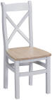 Cross Back Chair Wooden Seat- Grey