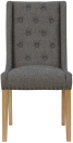 Button Back Studded Chair- Dark Grey