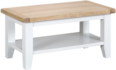 Pippa Painted Small Coffee Table With Lime- Washed Oak Top- White