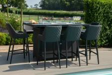 Regal 8 Seater Bar Set With Firepit Table- Charcoal