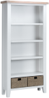 Pippa Painted Large Bookcase With Lime- Washed Oak Top- White