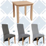 Rosie Oak Fixed Top Table With x2 Wave Back Fabric Chairs