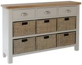 Isabella Painted 3 Drawer Unit With 6 Wicker Baskets