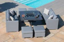 Fuzion Cube Sofa Set With Firepit Table- Flanelle