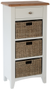 Rosie Painted Oak 1 Drawer Unit With 3 Wicker Baskets- White