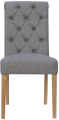 Scroll Button Back Fabric Chair- Light Grey