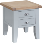 Pippa Grey/ White Painted Lamp Table With Lime- Washed Oak Top
