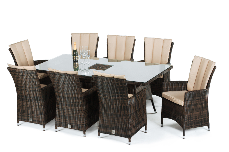 LA 8 Seat Rectangle Dining Set With Ice Bucket
