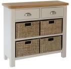 Isabella Painted 2 Drawer Unit With 4 Wicker Baskets