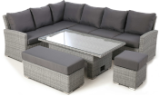 Ascot Grey Rectangular Corner Dining With Rising Table