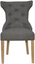 Winged Button Back Chair With Metal Ring- Dark Grey