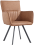 Carver Dining Chair With Metal Legs- Tan
