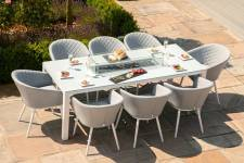 Ambition 8 Seater Set With Fire Pit Dining Table- Lead Chine