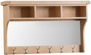 Belle Lime- Washed Oak Hall Shelf Unit With Mirror