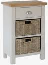Isabella Painted 1 Drawer Unit With 2 Wicker Baskets
