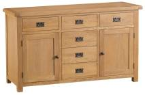 Belle Oak 2 Door 6 Drawer Sideboard