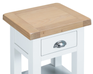 Pippa Grey/ White Painted Side Table With Lime Washed Oak Top