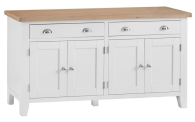 Pippa Painted 4 Door Sideboard With Lime- Washed Oak Top- White