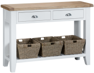Pippa Painted Large Console Table With Baskets And Lime- Washed Oak Top- White