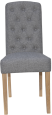 Button Back Chair- Light Grey