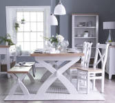 Pippa Grey/ White Painted 2.5 Cross Extending Table With Lime- Washed Oak Top